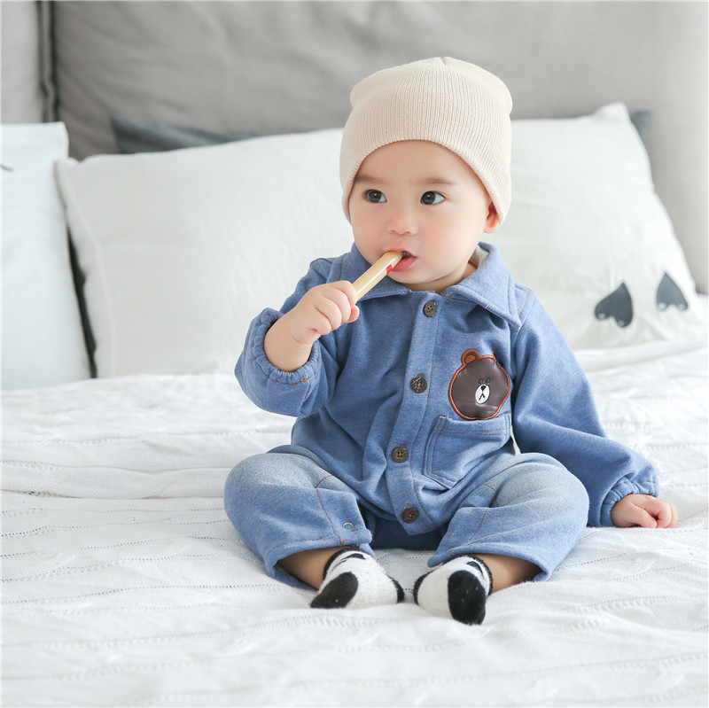 INS Childrenswear Spring And Autumn Baby Onesie Newborns Crawling Clothes Pure Cotton Baby Clothes Denim-like Fabric Baby Clothe