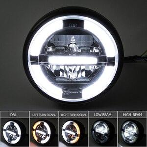 """Image 2 - 7 """"LED motosiklet cafe racer far DRL dönüş sinyal ışığı için Harley Touring yol kral Ultra klasik Electra sokak Glide"""