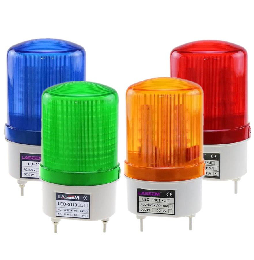 Rotating Rotary LED Strobe Alarm Lamp Light Siren Yellow Blue Red Green LED Warning Light No Voice 12V 24V 110V 220V