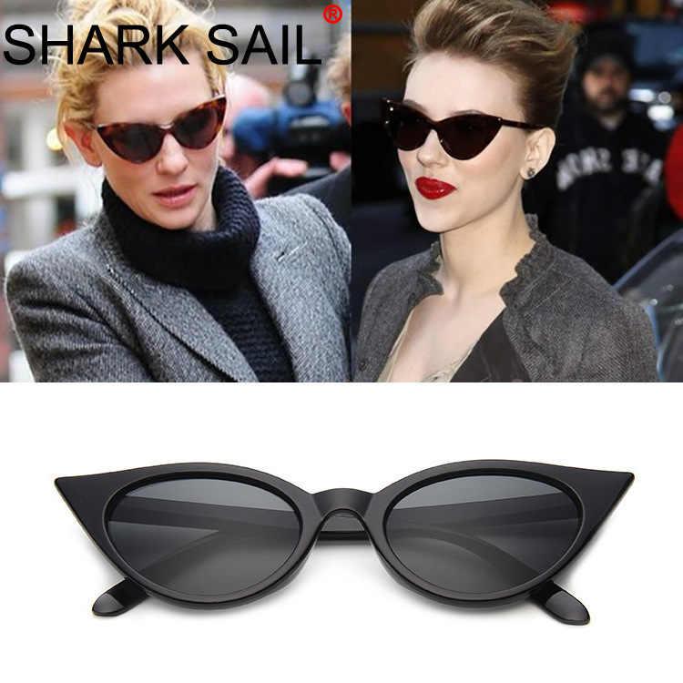 TUBARÃO VELA Moda Pequeno Quadro Óculos de Sol Olho de Gato Retro Óculos de Sol Do Vintage Oculos de sol Feminino Óculos De Vidro Borboleta
