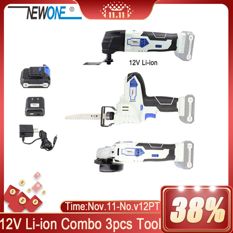12V Cordless Lithium Angle grinder reciprocating saw and oscillating tool multi-function combo kit  for grinding cutting