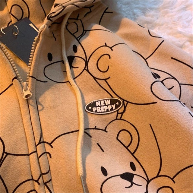 Summer 2021 Fashion Zip Up Cute Bear Sweetshirt Vintage Long Sleeve Spring Clothes Women Hoodies Coat Loose Harajuku Tops 4