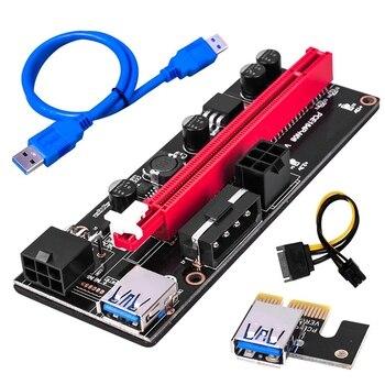 5Pcs Ver009 USB 3.0 Pci-E Riser Ver009S Express 1X 4X 8X 16X Extender Riser Adapter Card Sata 15Pin to 6 Pin Power Cable 1