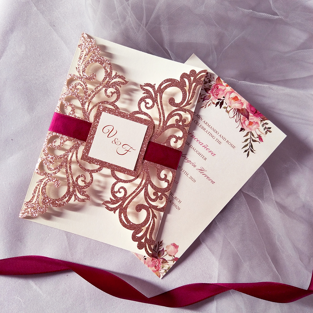 50pc Pink Gold Glittery Flower Personalized Print Wedding Invitation with Burgundy Ribbon and Tag Greeting Cards for Sweet 15