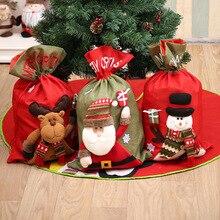 Счастливый год год Счастливого Рождества подарок Рождественский подарок мешок конфеты мешок Счастливого Рождества Сумочка для конфет сумки Рождественский Декор