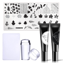 лучшая цена WAKEFULNESS Leaves Image Nail Stamping Plate With Clear Stamper Black White Stamping Gel Polish Set Nail Art Stamp Tools