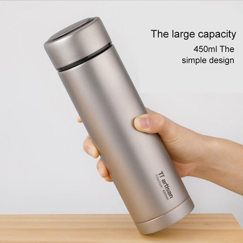 Tiartisan чистый titanium портативная чашка для воды 450 мл кружка для чая кофе чайник бутылка для напитков с двойными стенками Вакуумная бутылка спо... - 4