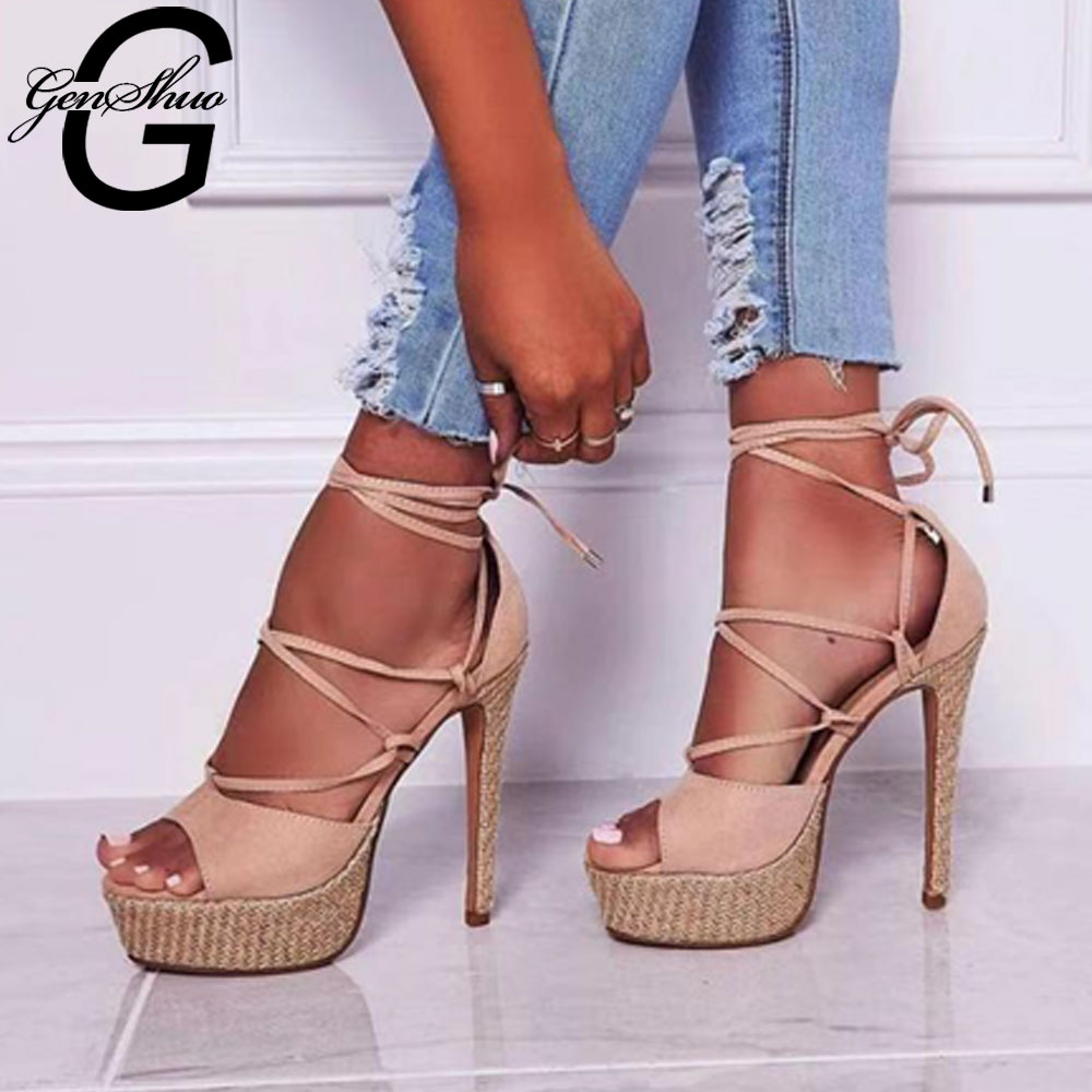 GENSHUO Sexy Cross-Strap Lace-Up Stiletto High Heels Sandals Peep Toe Platform Shoes Woman Party Dress Shoes Sandalias Black