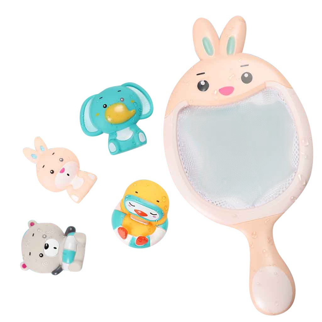 Baby Bathing Floating Soft Rubber Animals Bathing Toy For Baby Bath Toys Water Tub Toy Squirts Spoon-Net 1 Set #B