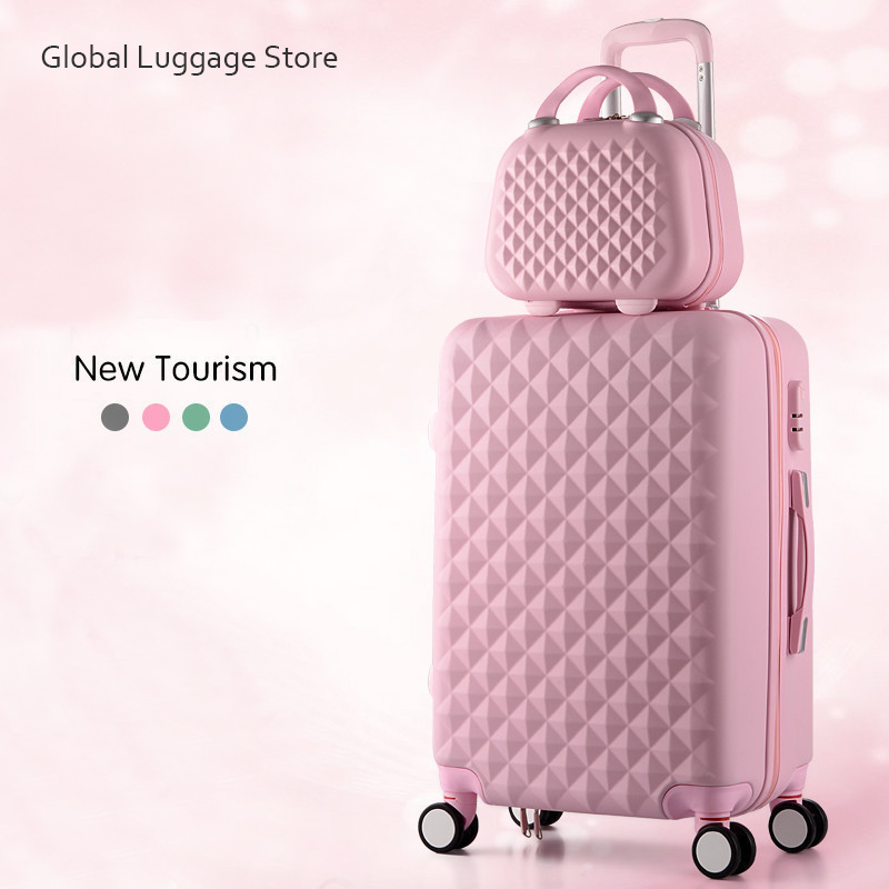 Rolling-Luggage Suitcase Wheels Spinner Travel-Bags Plaid Carry-On Female Fashion Cute title=