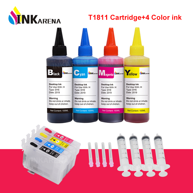 INKARENA T1811 XL Ink Cartridge For Epson Expression Home XP-30 102 202 205 302 305 402 405 405WH + 4 Color Refill Ink Kit