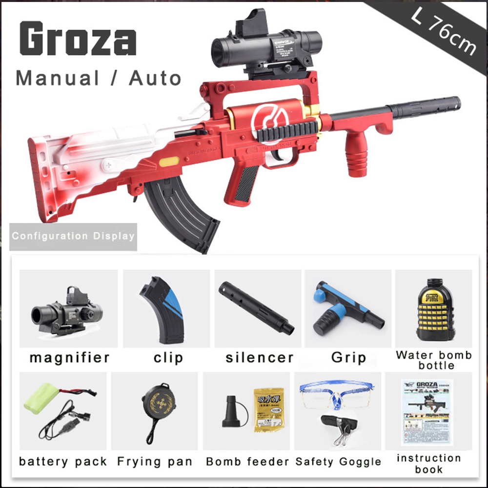 Outdoors Water Bullet Toy Gun Groza Black Blue Water Bullets Assault Rifle Electric Burst Shooting Toys For Children Boys Gifts