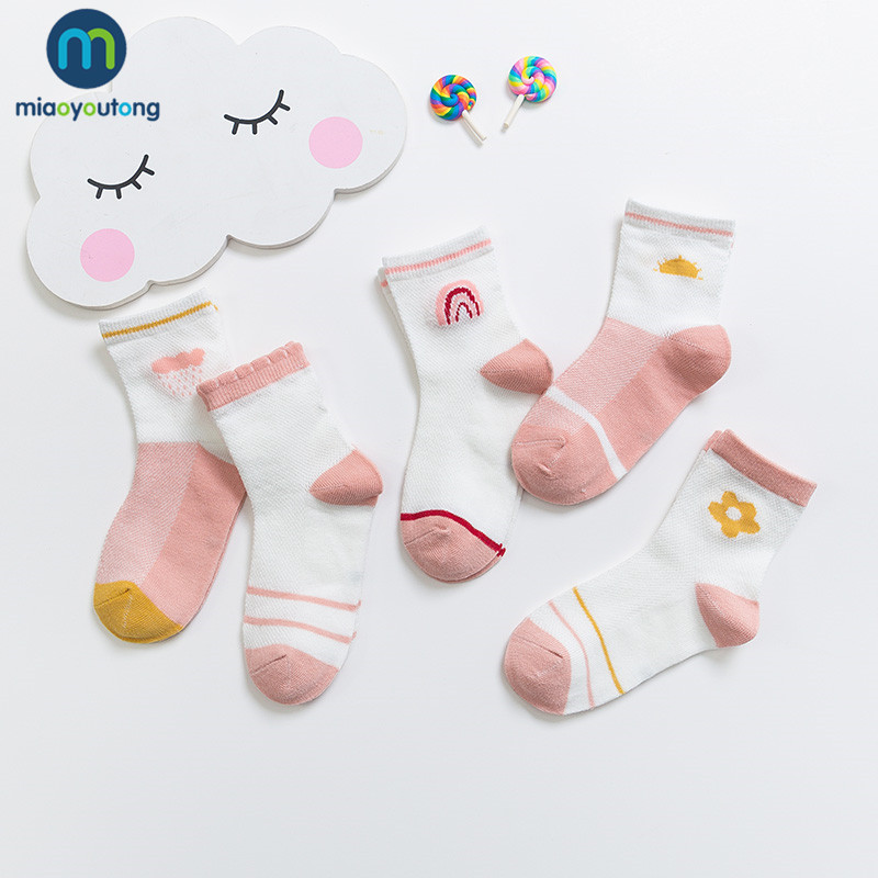 5 Pairs/lot Soft Mesh Thin Breathable Cotton Spring Summer Kids Socks Children Baby Girls Socks Skarpetki Infant Miaoyoutong