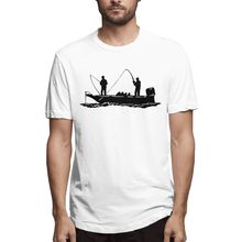 Fishing Boat printed oversized men t shirt anime clothes Polyester goth tee streetwear