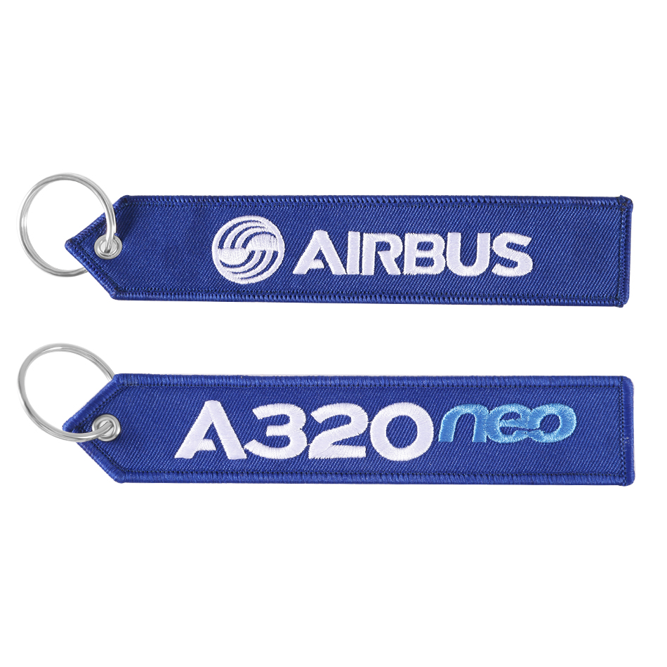 AIRBUS Keychain Double-sided Embroidery A320 Key Ring For Aviation Gifts OEM Key Fobs Sleutelhanger Strap Lanyard For Mobile 5.0
