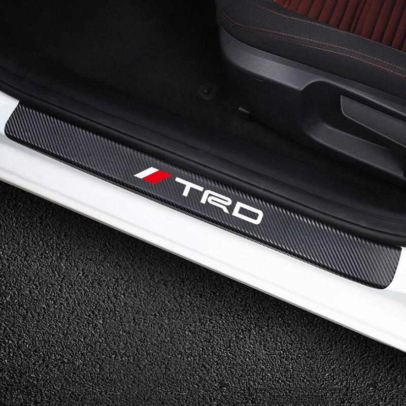 Автомобильный Стайлинг, 4 шт., TRD, углеродное волокно, Защитная Наклейка на порог, автомобильные наклейки для Toyota CROWN COROLLA REIZ, автомобильные аксессуары|Наклейки на автомобиль|   | АлиЭкспресс