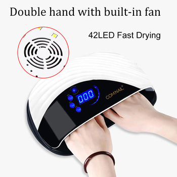2-In-1 Nail Dryer 42 LEDs Powerful UV Nail Lamp For Manicure Nail Drying With Cooling Fan Fast Auto Sensor Two Hands Nail Art image