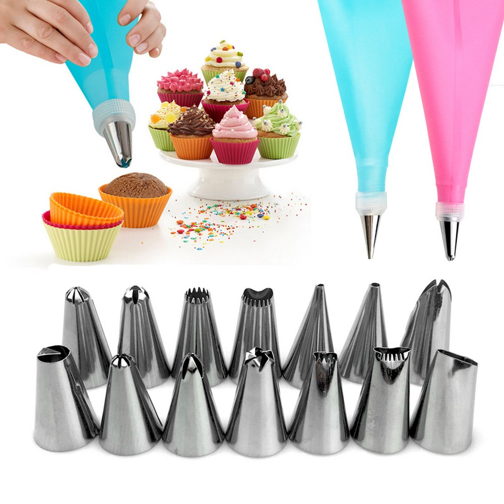 16pcs/set Wedding Cake Decorating Icing Stainless Steel Cake Decorating Tools Icing Piping Nozzles Piping Tips Pastry Cake Bags