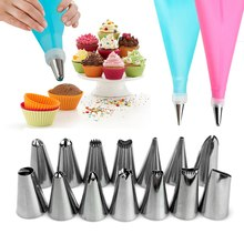 16pcs/set Wedding Cake Decorating Icing Stainless Steel Cake Decorating Tools Icing Piping Nozzles Piping Tips Pastry Cake Bags icing frosting decorating piping nozzles