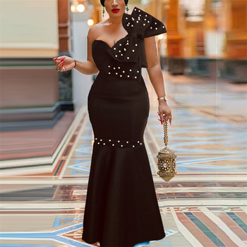 Black Long Big Bowtie Beading Maxi Dress