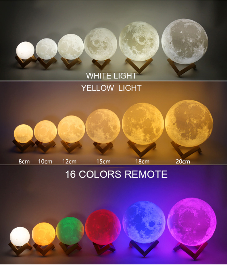3D Print Moon Lamp for Creative Home Decor with Changing Color 7