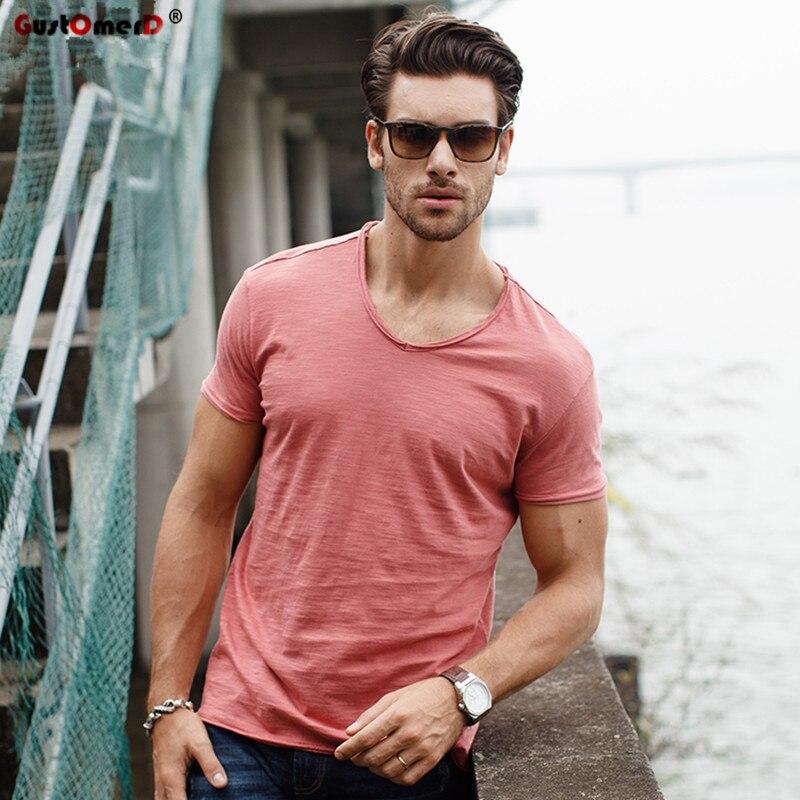 Gustomerd camiseta com decote em v, de qualidade, slim fit, de algodão, de manga curta, moda masculina camiseta tops casual