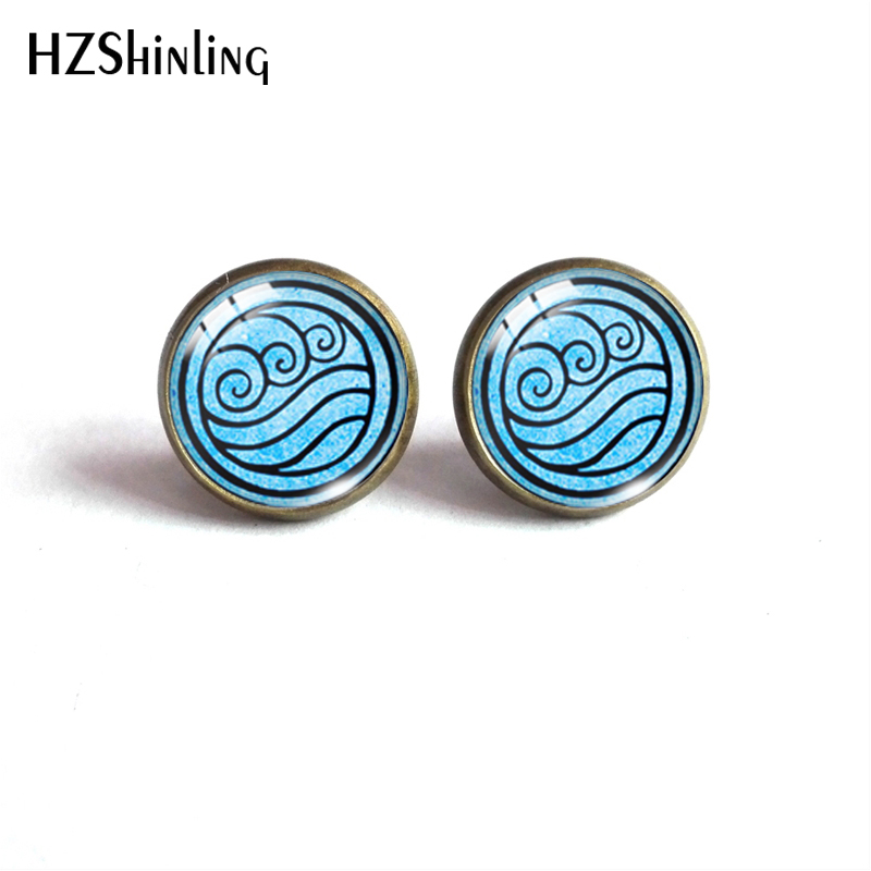 New Avatar The Last Airbender Round Stud Earrings Kingdom Jewelry Air Nomad Fire Water Tribe Glass Dome Earrings