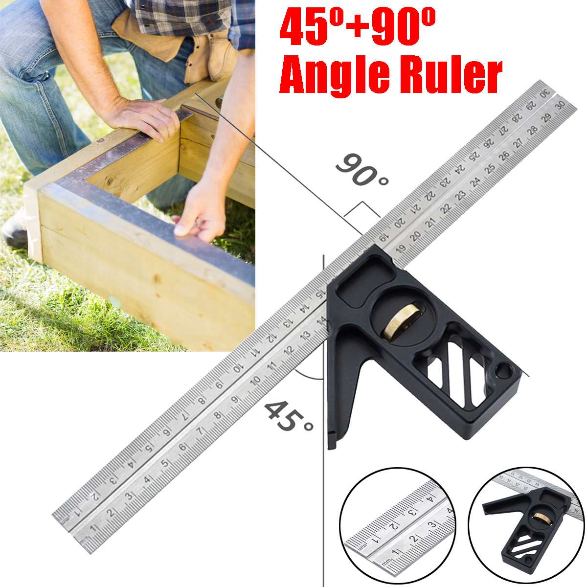 MULTI PURPOSE Protractor Square Rule Centre Finder Divider Drill Point Gauge Global Tools