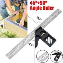 Einstellbare Winkel Lineal Aluminium Kombination Quadrat Herrscher 45/90 Grad Finder Winkelmesser Mit Ebene Für Maschinist Mess Werkzeuge