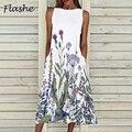 New Retro Print Sleeveless Summer Dress For Women Casual Pocket O Neck Loose Dresses Elegant Female Plus Size Party Dress 2021