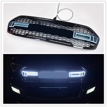 OWN DESIGN MODIFIED TOP QUALITY LED LETTERS Grill GRILLE SHINY Black Front racing Grill  Fit for Everest endeavour car 2015-2018 citycarauto top quality shiny matte black front racing grill grille car styling front cover grills fit for sportage 2011 15