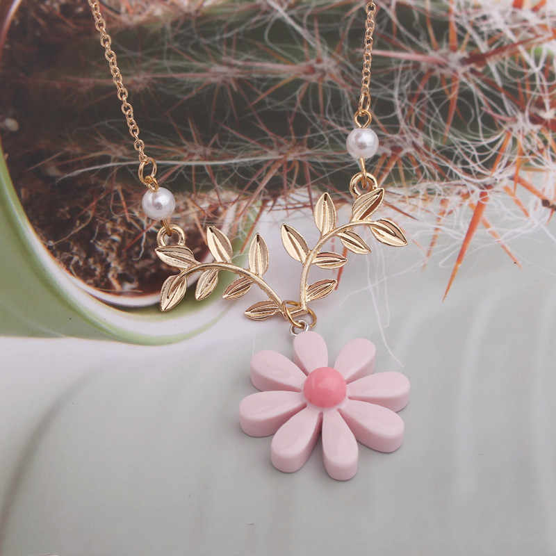 NK106 繊細なひまわりペンダントネックレス女性の日常模造真珠ジュエリーセーターデイジー花の葉のネックレスアクセサリー