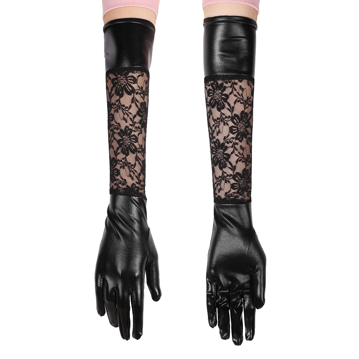TiaoBug Women Vintage Stretchy Tulle Or Patent Leather Long Gloves Mittens For Ladies Evening Party Dress Costume Accessories