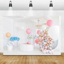 Laeacco aniversário photophone balões flores de papel lustre decoração interior fotografia backdrops foto fundos photozone