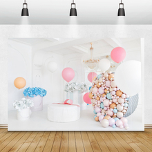 Laeacco globos de fotófono de cumpleaños candelabro de flores de papel decoración Interior fondos de fotografía fondos fotozona