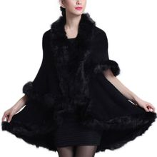 цены на 2019 Women Fashion Fine Knit Open Front Faux Fur Trim Layers Poncho Cape Shawl Cloak Cardigan Sweater Cape Coat  в интернет-магазинах