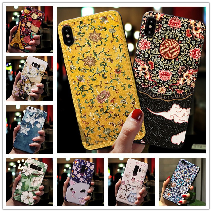 For <font><b>Samsung</b></font> <font><b>Galaxy</b></font> A10 <font><b>Case</b></font> 3D <font><b>Flower</b></font> Emboss Silicone Phone <font><b>Cases</b></font> For <font><b>Samsung</b></font> A50 A30 A20 <font><b>A70</b></font> Back Cover Soft A21 A10 A105F image