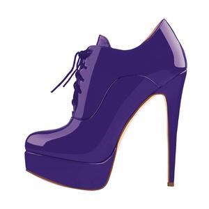 Image 5 - Onlymaker נשים סקסי גבוהה העקב פלטפורמת פטנט עור קרסול הנעל תחרה עד פגיון קומפי מגפי משאבות בתוספת גודל גדול נעליים 5 15