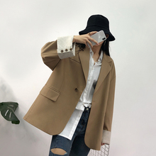Stylish Korean Ladies Blazer Solid Khaki Casual Loose Suit Jacket Vintage Bayan Mont Office Women Blazer Spring Autumn MM60NXZ