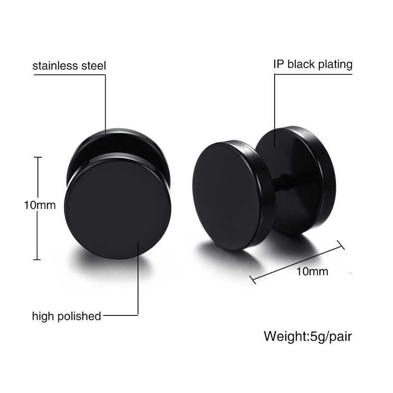 Vnox สีดำต่างหูสแตนเลสบุรุษสตรีต่างหูหูปลั๊กอุโมงค์ 6/8/10 มม.