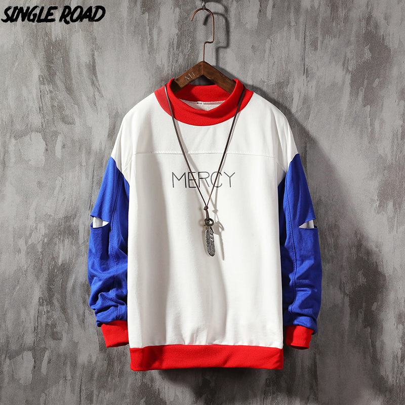 SingleRoad Crewneck Sweatshirt Men 2020 Colorblock Patchwork Japanese Streetwear Harajuku Hoodie Men Sweatshirts Male Hoodies