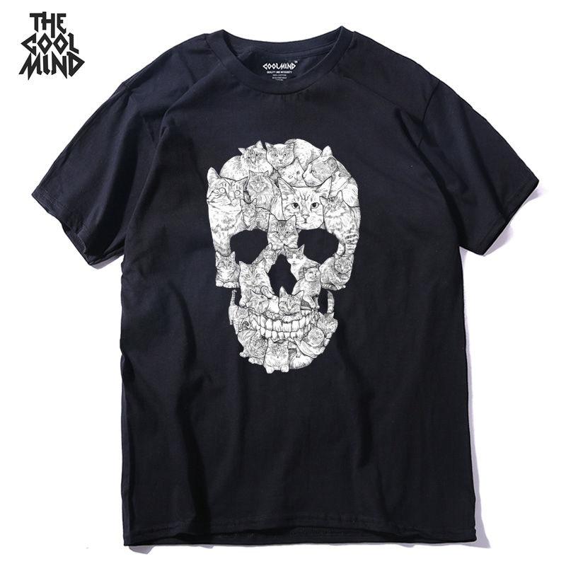 COOLMIND QI0229A 100% cotton short sleeve loose cool skull print men T shirt casual summer punk o-neck loose mens tshirt pthd
