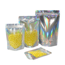 100Pcs/Lot Clear Glittery Silver Mylar Foil Zip Lock Stand Up Bag Reusable Resealable Tear Notch Doypack Grip Seal Food Pouches