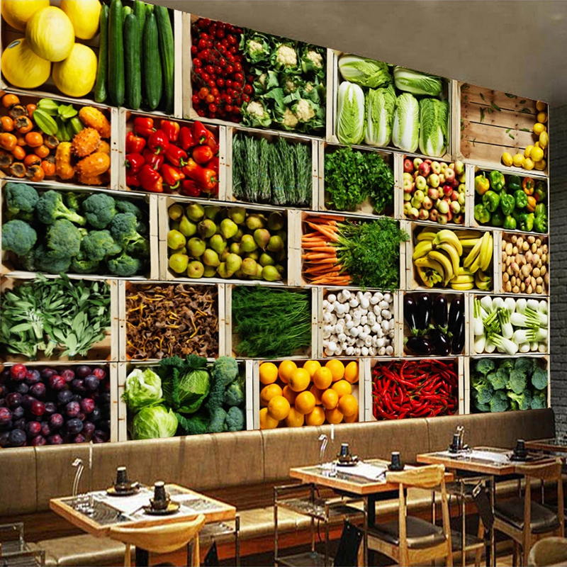 Custom Size 3D Mural Wall Paper Vegetable Market Fruit Shop Poster Wall Painting Restaurant Kitchen Photo Background Wallpaper