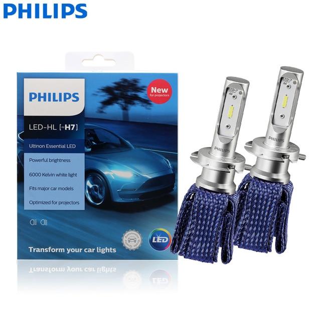 فيليبس Ultinon الأساسية LED H7 12 فولت 11972UEX2 6000K سيارة مشرق مصباح ليد للسيارات HL شعاع ThermalCool (التوأم حزمة)
