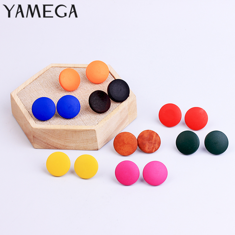 Korean Simple Design Log Wooden Earrings Red Brown Round Alloy Button Wood Earrings Female Trendy Jewelry For Women Girls Gifts