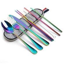 цена на Portable Stainless Steel Dinnerware Set Travel Camping Cutlery Set Reusable Silverware With Spoon Fork Chopsticks