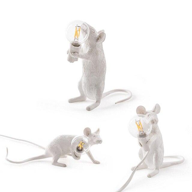 3 style żywica lampa mysz krajem ameryki indywidualna kreatywna sypialnia nocna gabinet dekoracja biurka mała lampa stołowa myszy