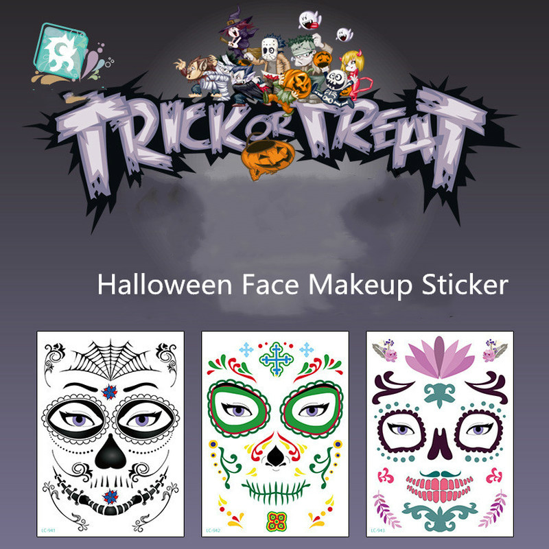 1pcs Mask Temporary Tattoos Stickers Day of The Dead Skull Face Halloween Party Cool Beauty Tattoo Waterproof Transfer Body Art