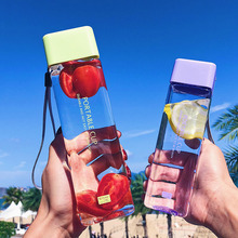 New Square Portable Cup Water Bottles 480/300ML With Rope fo